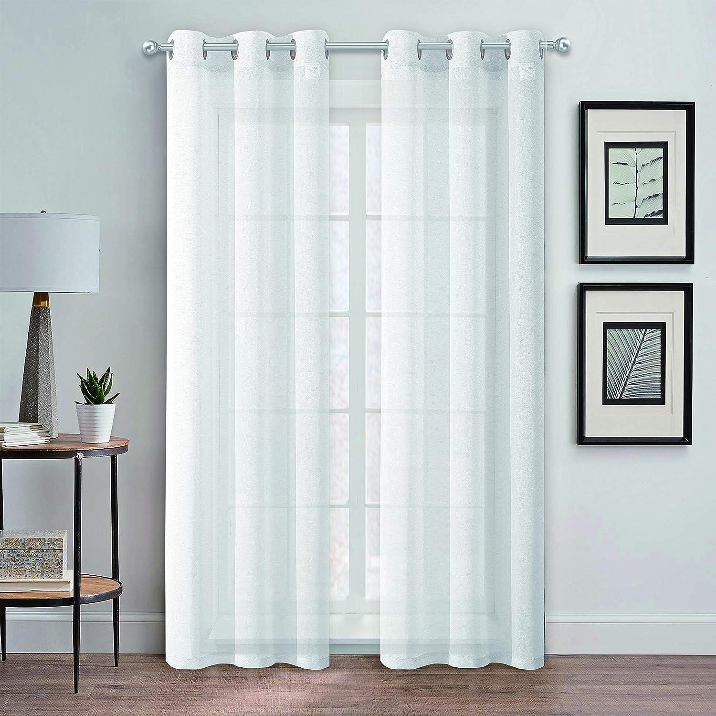 "Dainty Home Au Natural Canvas Semi-Sheer Linen Blend Grommet Window Panel Pair, 38"" x 84"" Each, 76x84'', Mesh White"