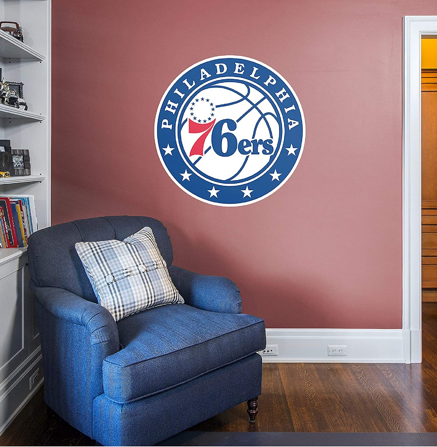 Amazon Com Philadelphia 76ers Logo Giant Officially Licensed Nba Removable Wall Decal Sports Outdoors