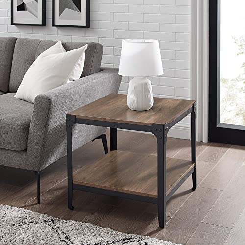 Walker Edison Declan Declan Urban Industrial Angle Iron and Wood Accent Tables