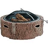 Martha Stewart MTS-FP35-FB 直径 88.9 厘米铸造石底座,木燃烧火盆,人造Bois