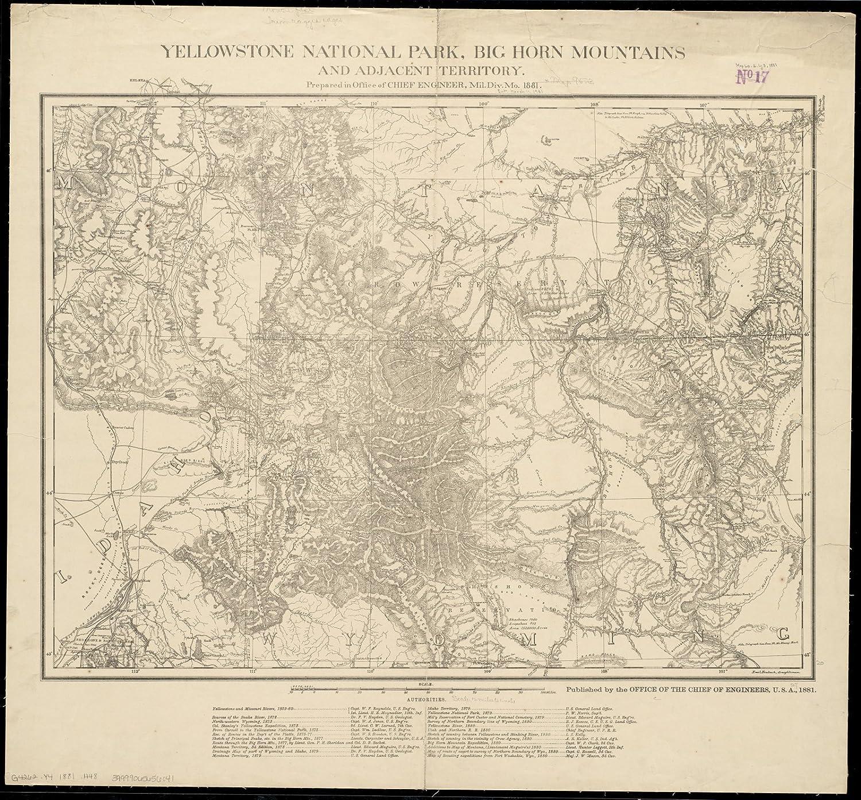 Amazon.com: Historic Map   1881 Yellowstone National Park, Big Horn ...