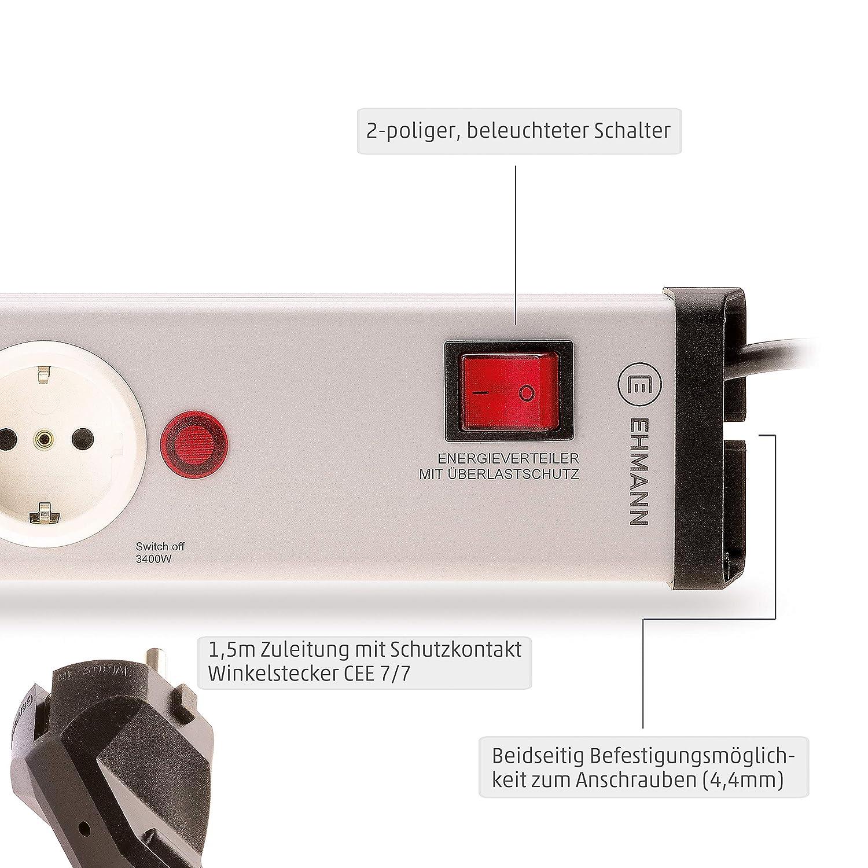 ENERGIEVERTEILER 2-er Steckdosen-Leiste ENERGIE-Verteiler SCHUTZ-Steckdosen NEU