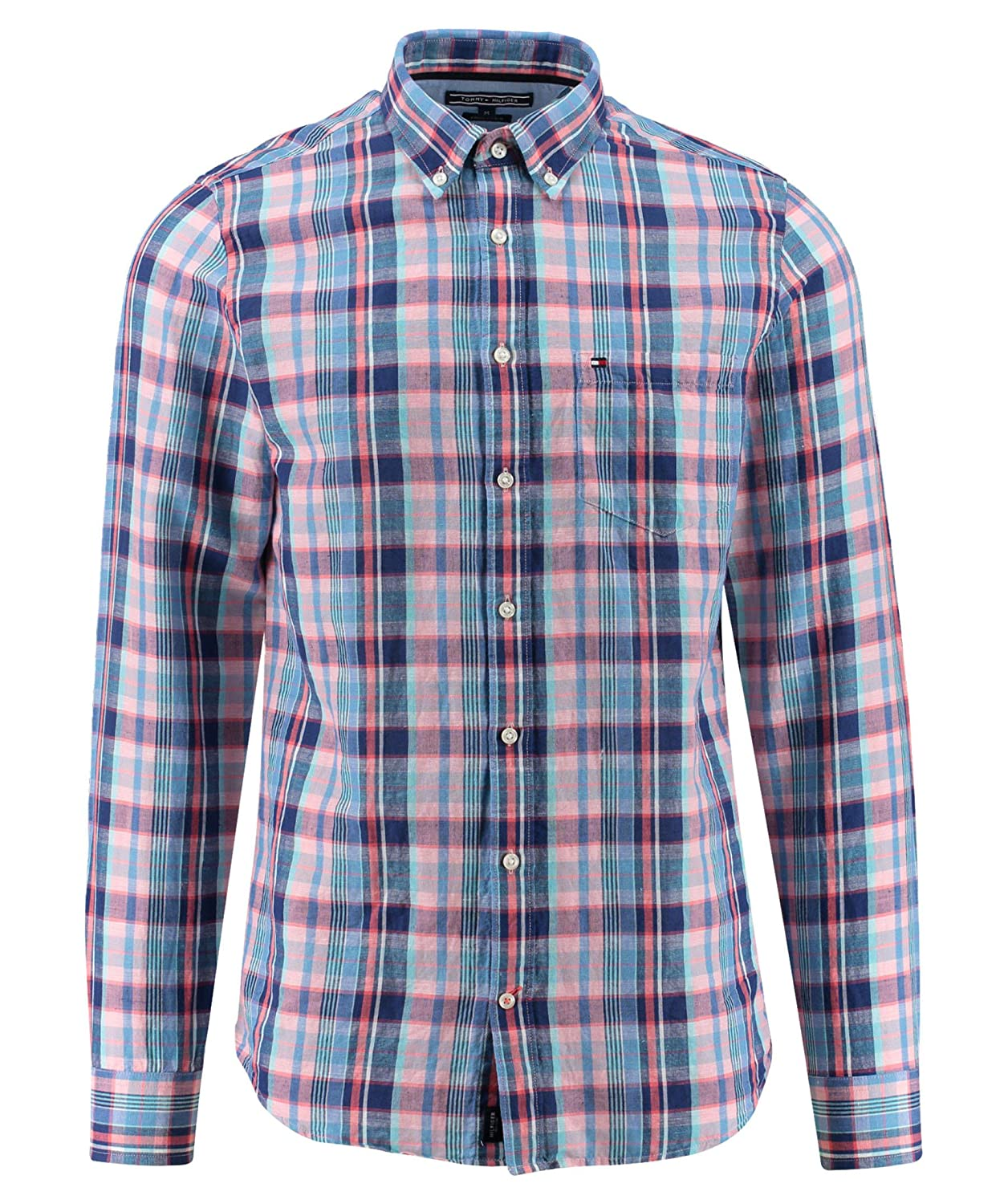 cc2e72a7 Tommy Hilfiger Men's Checkered Long Sleeve Casual Shirt Blue Blue:  Amazon.co.uk: Clothing