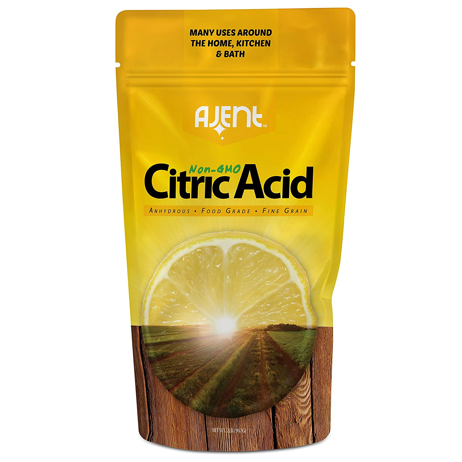 Ajent Citric Acid 2 Pound. 100% Pure Food Grade Non-GMO (Approved for Organic Foods) Bulk