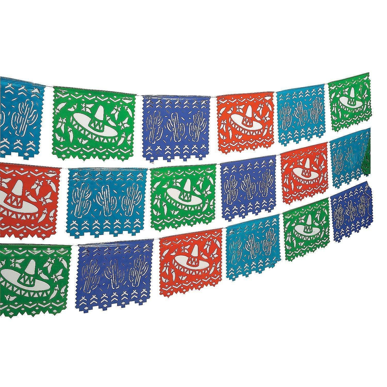 "Fun Express - Plastic Mexican Cutout Banner Plastic. (100 feet. x 10"")"