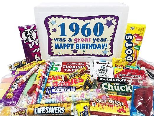 Woodstock Candy - Caja de regalo de 60 cumpleaños con diseño ...