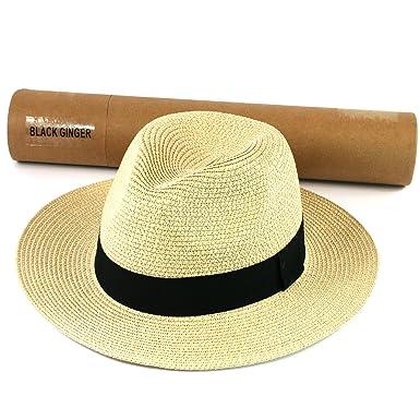 f9ce5cc896c Mens Summer Mens Folding Panama Straw Summer Fedora Trilby Golf Safari Sun  Beach Hat in Bag (Cream)  Amazon.co.uk  Clothing