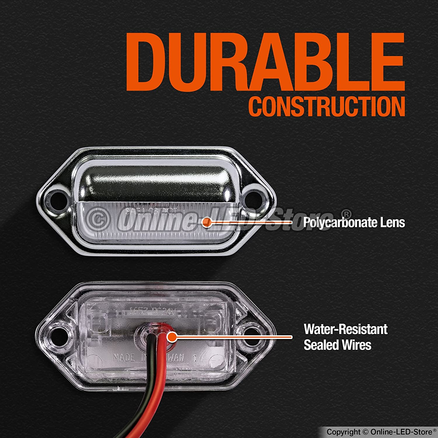 Online Led Store 2pc License Plate Light Sae Dot 1970 Mustang Maplight Wiring Certified Waterproof Heavy Duty Convenience Courtesy For Trailers Rv