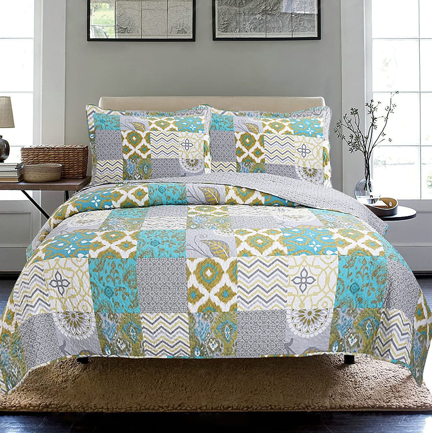 New 3pc Printed Modern Geometric Bedspread Coverlet (King)