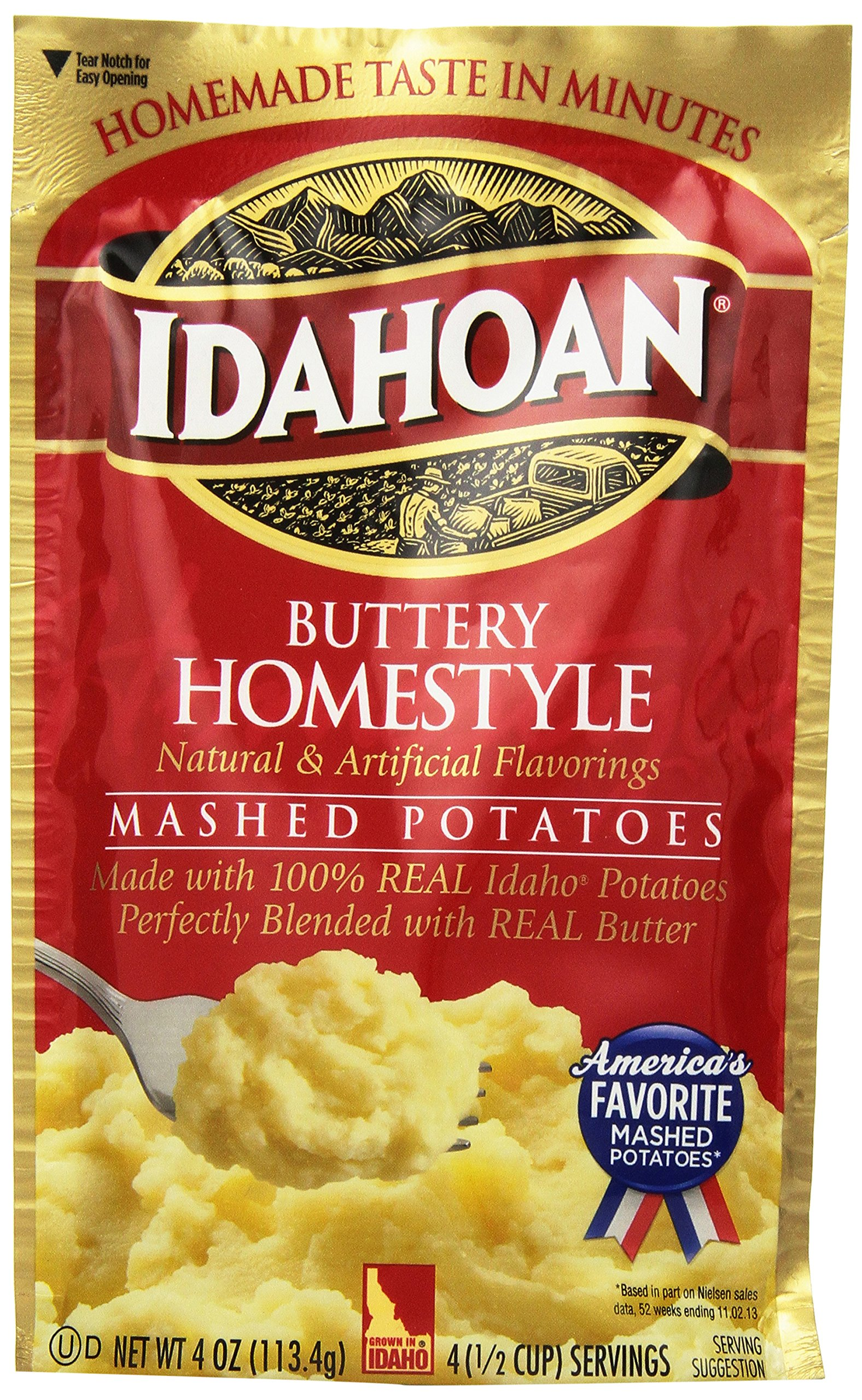 Idahoan Buttery Homestyle Mashed Potatoes, Made with Gluten-Free 100-Percent Real Idaho Potatoes, 4-ounce Pouch (4 Servings)