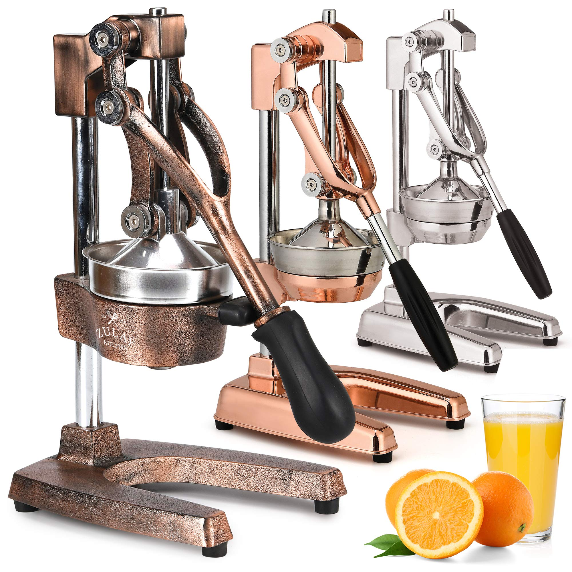Zulay Professional Citrus Juicer - Manual Citrus Press and Orange Squeezer - Metal Lemon Squeezer - Premium Quality Heavy Duty Manual Orange Juicer and Lime Squeezer Press Stand, Copper Finish by Zulay Kitchen