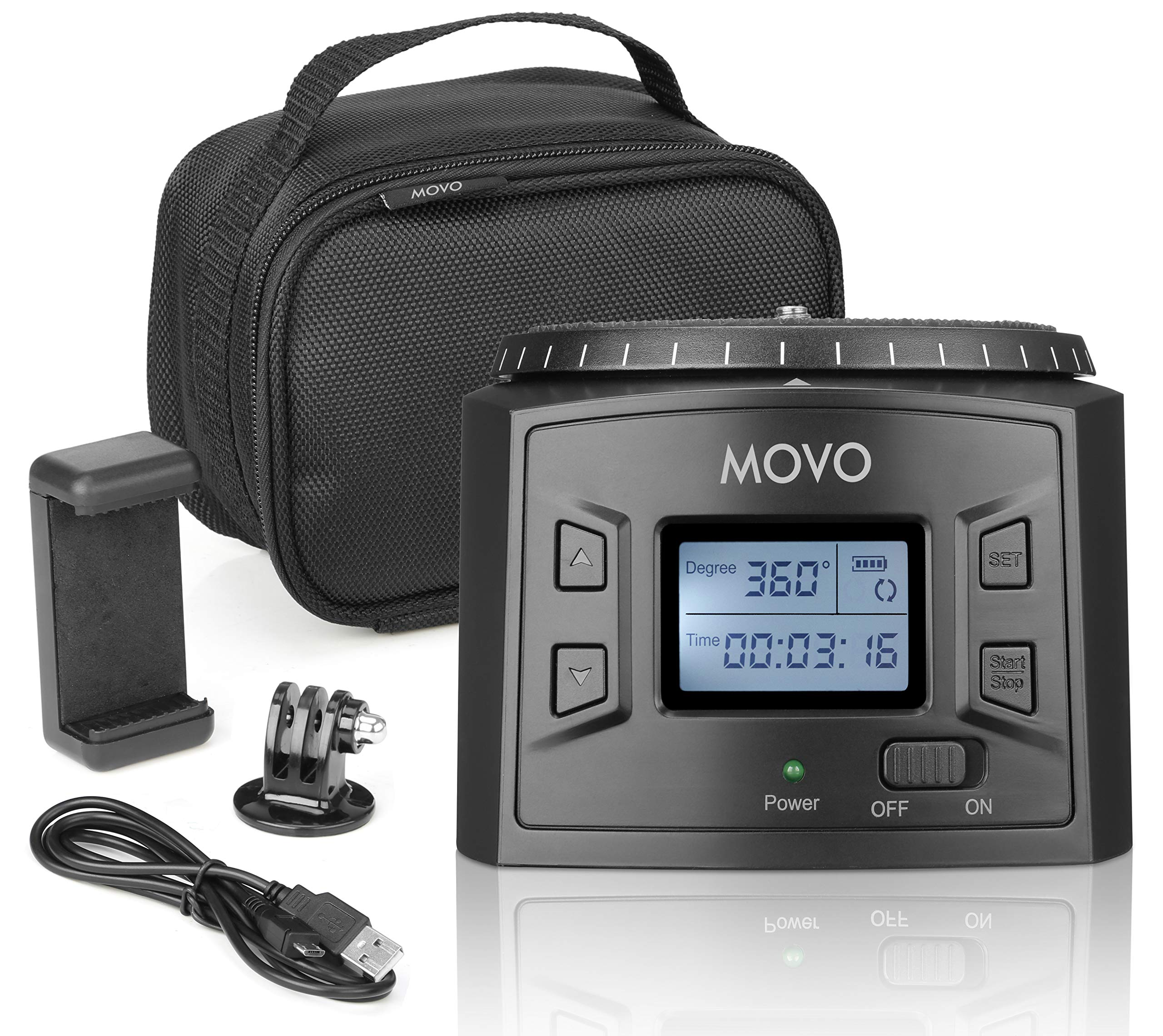 Movo MTP-20 Programmable Panoramic Time-Lapse Tripod Head with Adjustable Rotating Angle, Direction, and Speed - Compatible with Smartphones, GoPro, Mirrorless and DSLR Cameras up to 4.4 Lbs by Movo