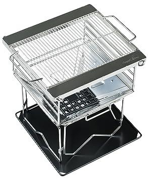 AceCamp Premium BBQ Barbacoa de carbón de acero inoxidable de alta calidad, incluye funda,
