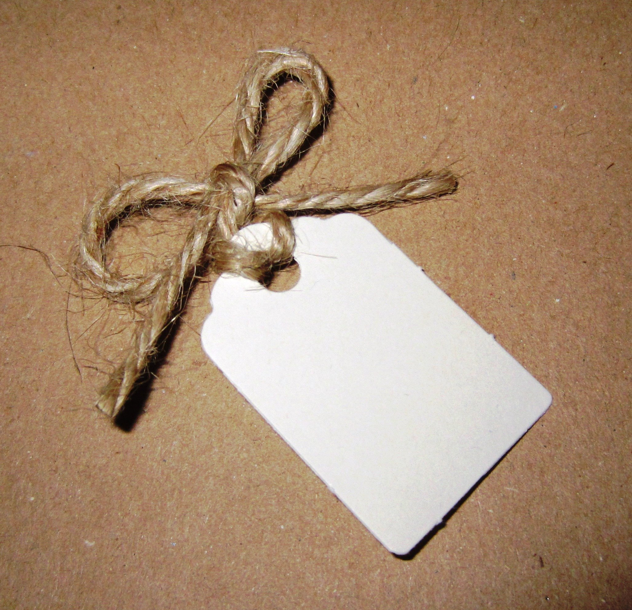 50 Small Ivory Gift Tags / Wedding Tags / Favor Tags with (12 Metres Uncut) Natural Jute Twine 42mm x 28mm (100% Recycled Card)