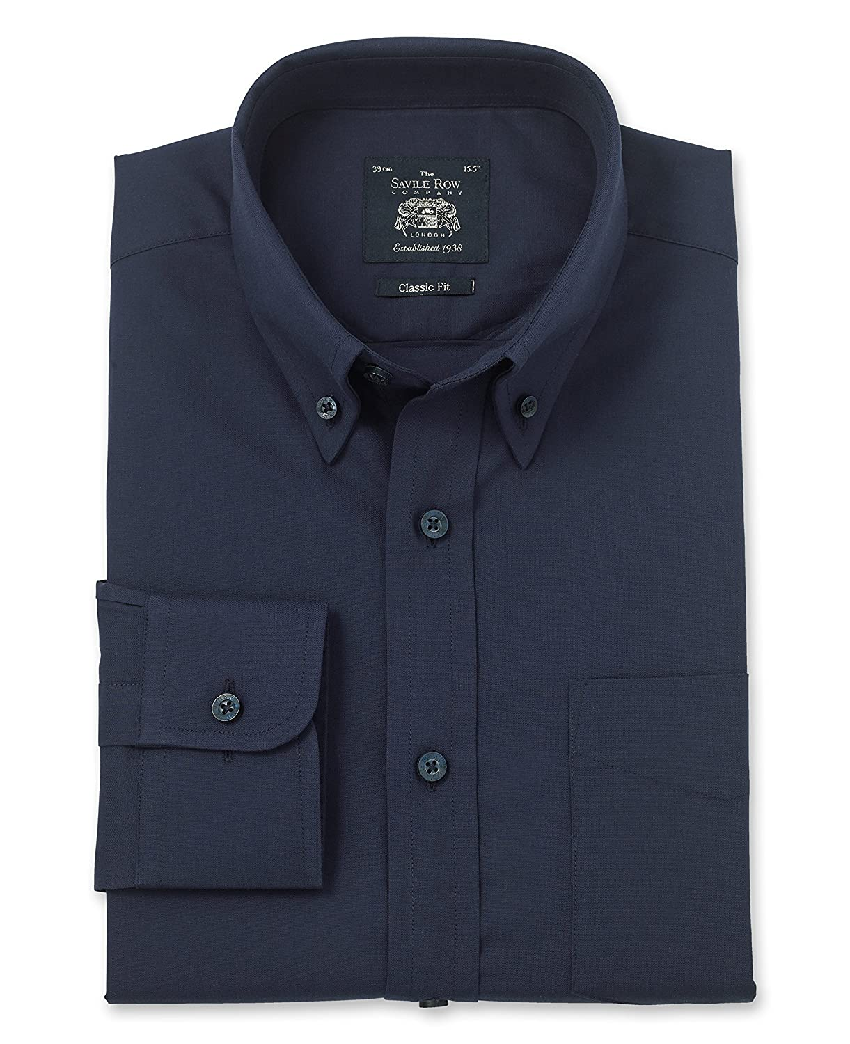 Savile Row Men's Navy Oxford Classic Fit Shirt - Single Cuff