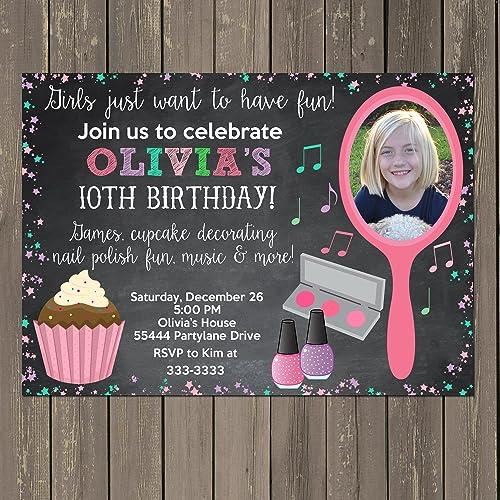 Amazon Com Glamour Girl Birthday Invitation Makeup Party