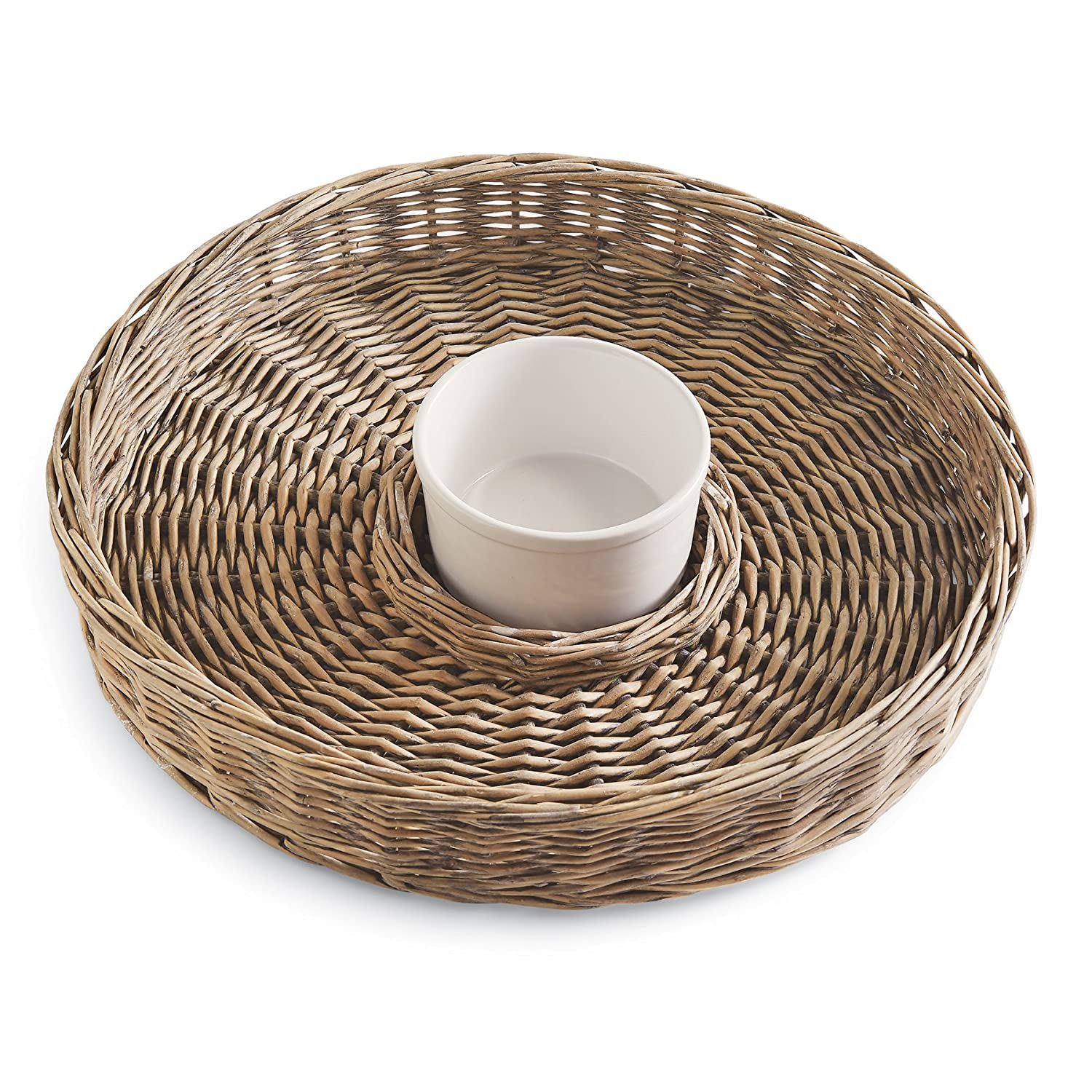 Mud Pie Willow Chip N Dip Set, Gray 4181008
