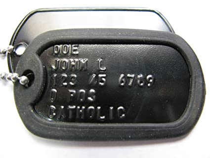 Image Unavailable. Image not available for. Color  Black military dog tags 01e363d5868