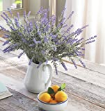 8 Bundle Artificial Flower Purple Lavender Bouquet with Green Leaves for Home Party Decorations