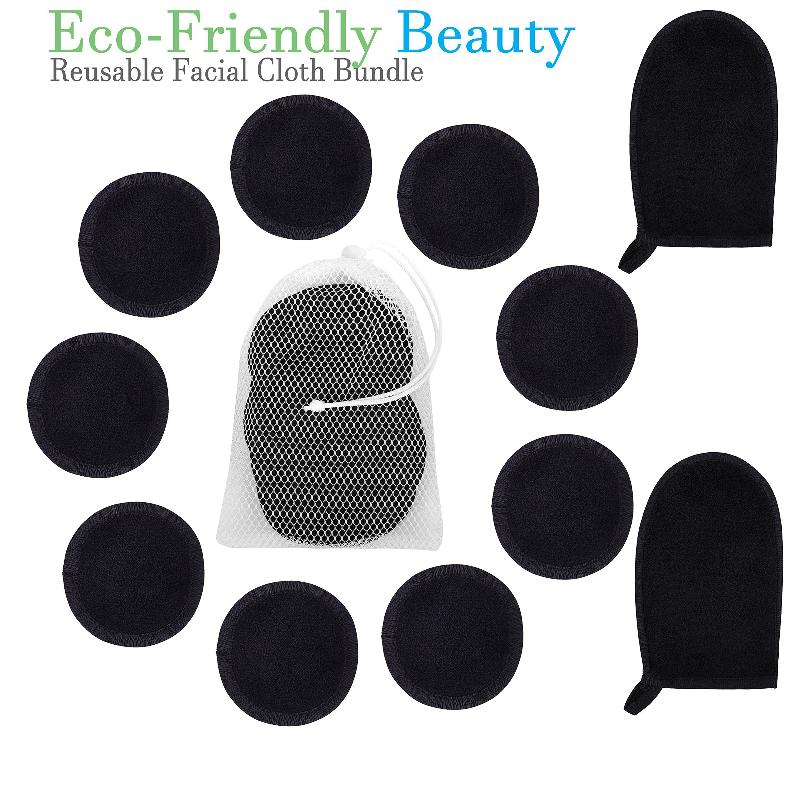 Reusable Makeup Removing Pads and Microfiber Face Cleansing Gloves |12 PACK + LAUNDRY BAG | 2 Black Makeup Remover Mitts 10 Black Eye Makeup Removing Clothes and 1 Laundry Bag | Eco-friendly Beauty