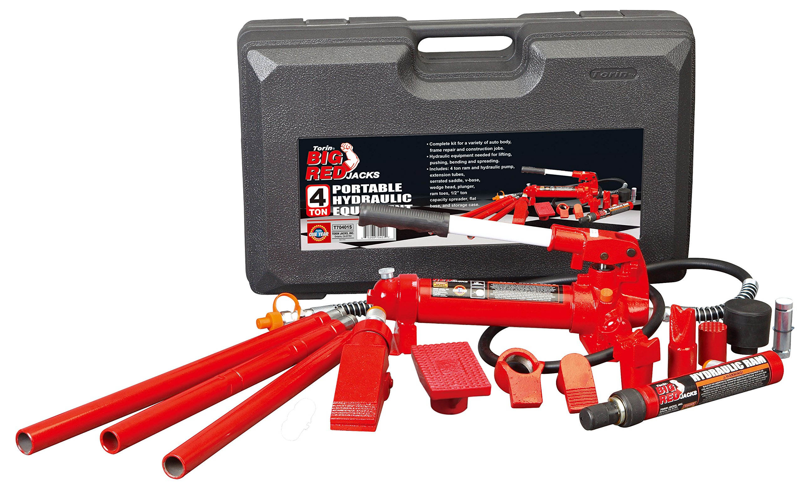 Torin Big Red Portable Hydraulic Ram: Auto Body Frame Repair Kit with Carrying Case, 4 Ton Capacity by Torin