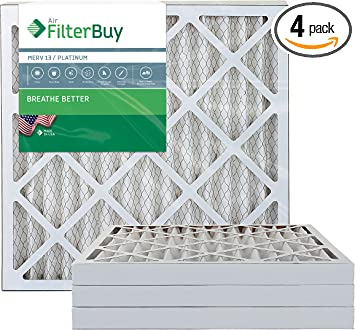 Platinum 14x14x2 FilterBuy 14x14x2 MERV 13 Pleated AC Furnace Air Filter, Pack of 2 Filters