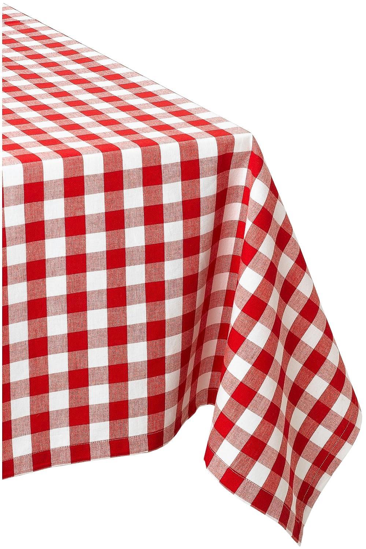 Aqua /& White Check DII 100/% Cotton 52 x 52 Dinner Summer /& Picnic Tablecloth Seats 4 People Machine Washable