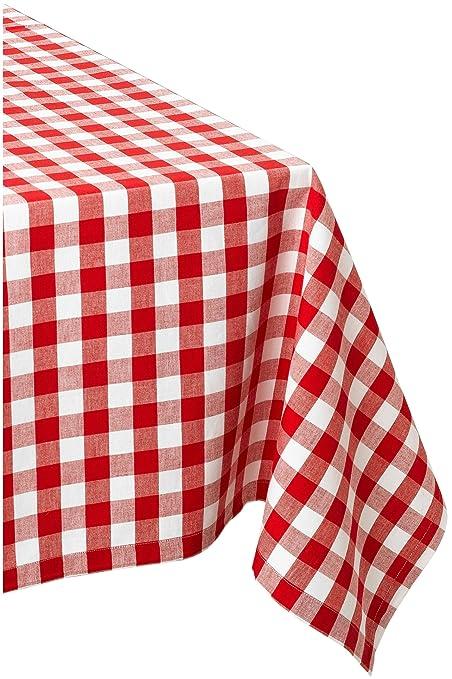 Amazoncom Dii 60x84 Rectangular Cotton Tablecloth Red White