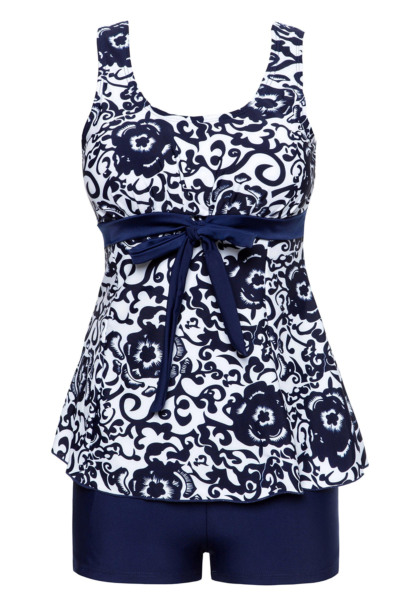 Wantdo Women's Summer Style Swimwear Swimsuit Tankini Cute Big Bust Dress Navy Porcelain US 8-10
