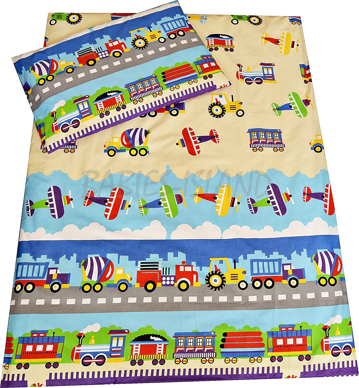 Kinder-Bettwäsche von Babie-Island mit Bettdecken- und Kopfkissenbezug, Lastwagen, Flugzeuge, Züge Züge Babies-Island