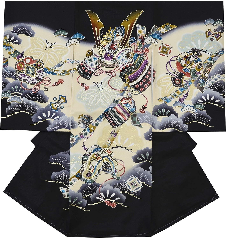 お宮参り 着物 男の子 初着 産着 正絹 鷹 兜 黒 男児 祝着 のしめ 着物タウン noshime-00035