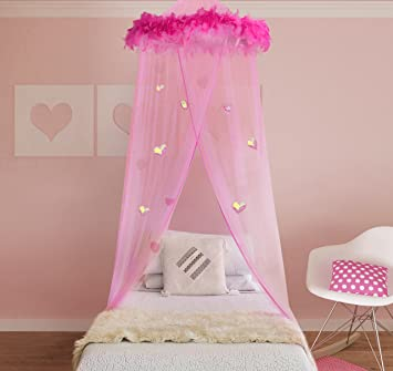Boho and Beach Princess Feather Boa Bed Canopy Mosquito Net for Girls with  Sparkly Hearts. Amazon com  Boho and Beach Princess Feather Boa Bed Canopy