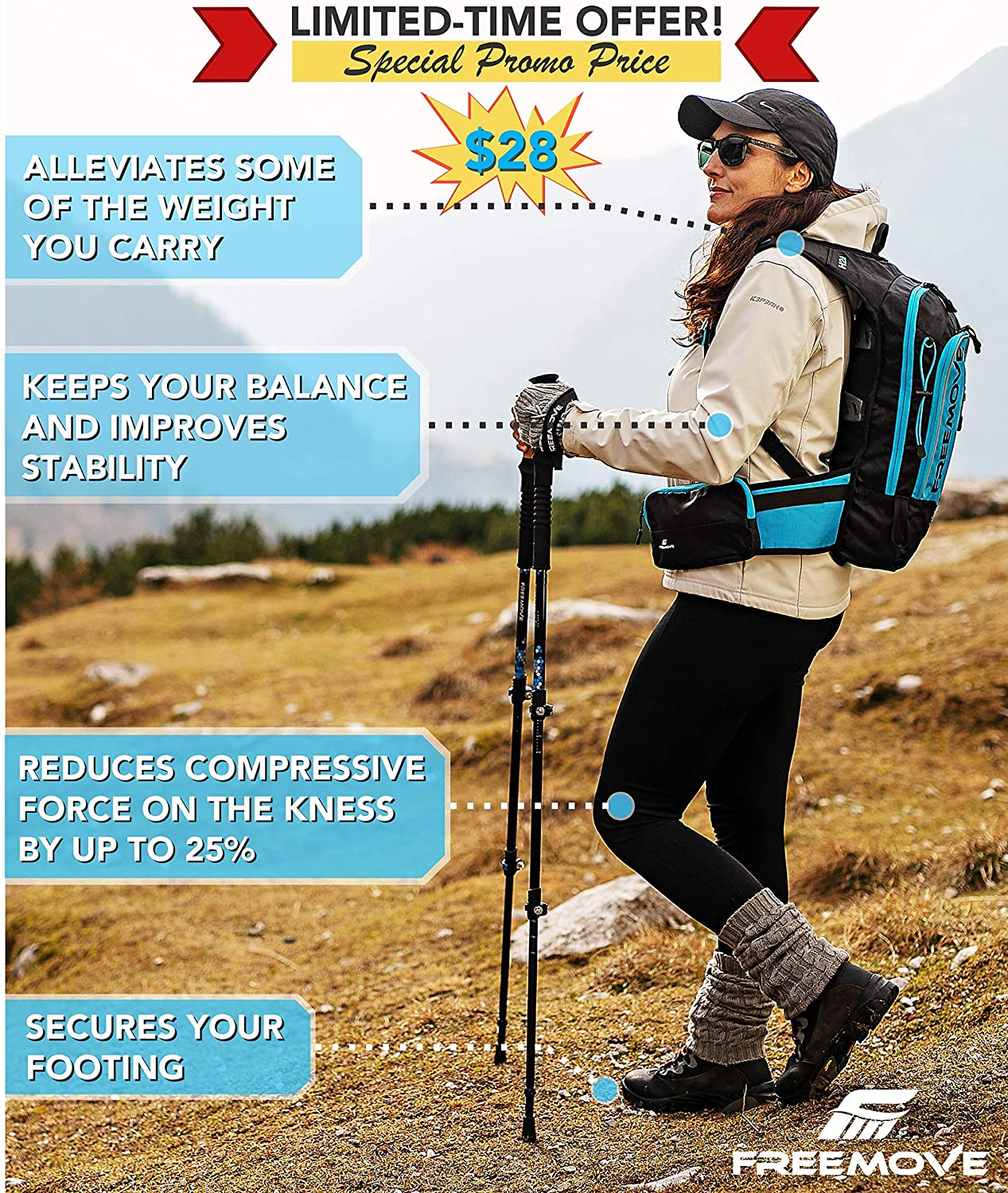 FREEMOVE Trekking Poles Collapsible, Lightweight Ultra Strong Aluminum 7075 Sticks for Hiking and Walking with Cork Grips, Quick Locks, Fully Equipped Accessories Gear for Men and Women