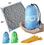 "Live Infinitely Sand Free Compact Outdoor Beach Blanket- 55"" x 60"" Pocket Sized Mat – Ideal for Festivals & Hiking- Quick Drying Nylon- Weightable Pockets +"