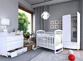 Bettsets Babybett Schaukelfunktion Weiss Mit 10-tlg Komplett-set Bettwäsche Matratze Neu