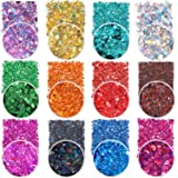 Holographic Chunky Glitter Sequins, 12 Colors Mixed Cosmetic Glitter for Face Body Eye Hair Nail Art Lip Gloss Makeup, Festiv