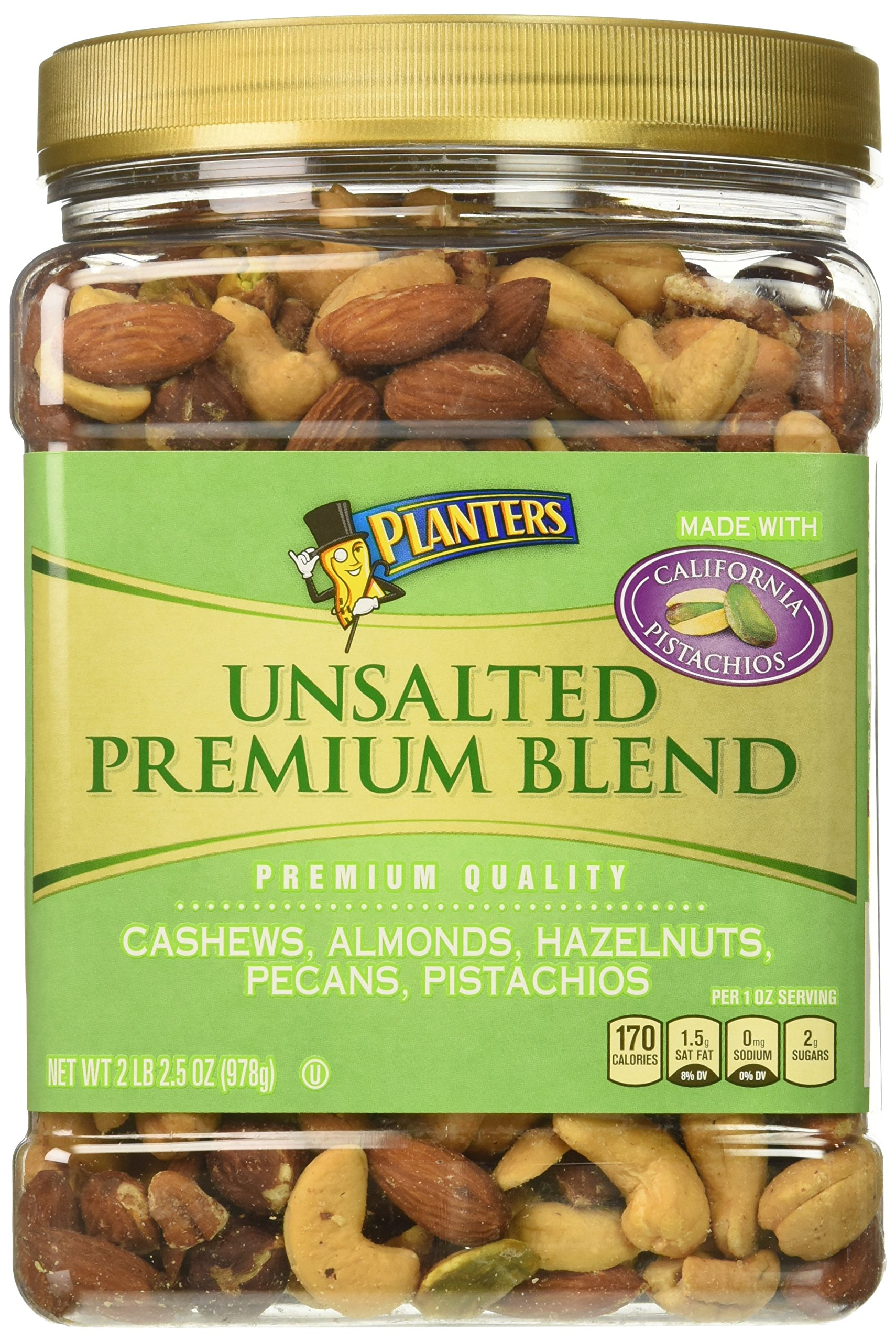 Planters Premium Blend Mixed Nuts, Unsalted, 34.5 Ounce Jar