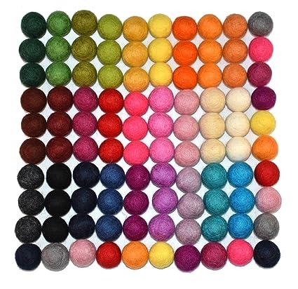 10mm 100 Count 100/% Wool Felt Balls Assorted Colors