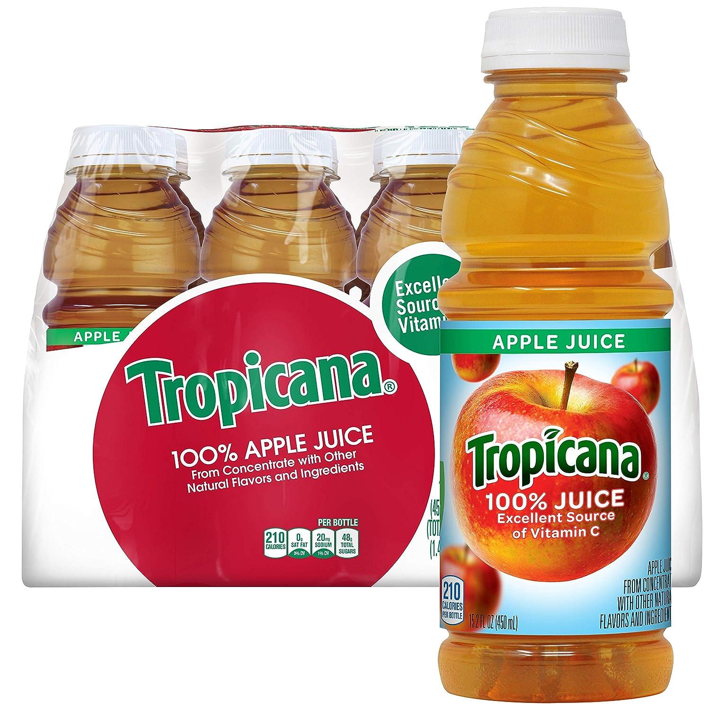 Amazon Com Tropicana 100 Apple Juice 15 2 Fl Oz Bottles Pack Of 12 Fruit Juices Grocery Gourmet Food