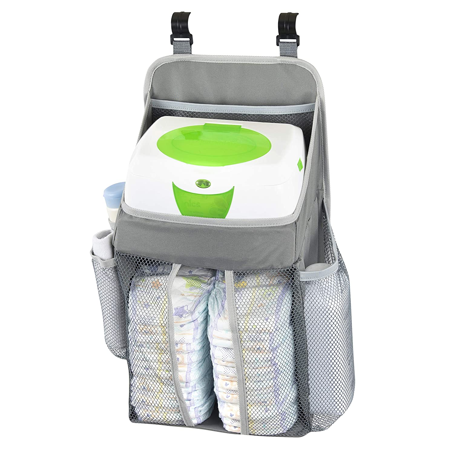 Hanging Baby Diaper Caddy Organizer - Hang On Door, Crib Or Infant Changing Table - Nursery Station Basket For Diapers, Wet Wipes, Clothes Storage - Waterproof & Stylish - Unisex Grey For Boys & Girls