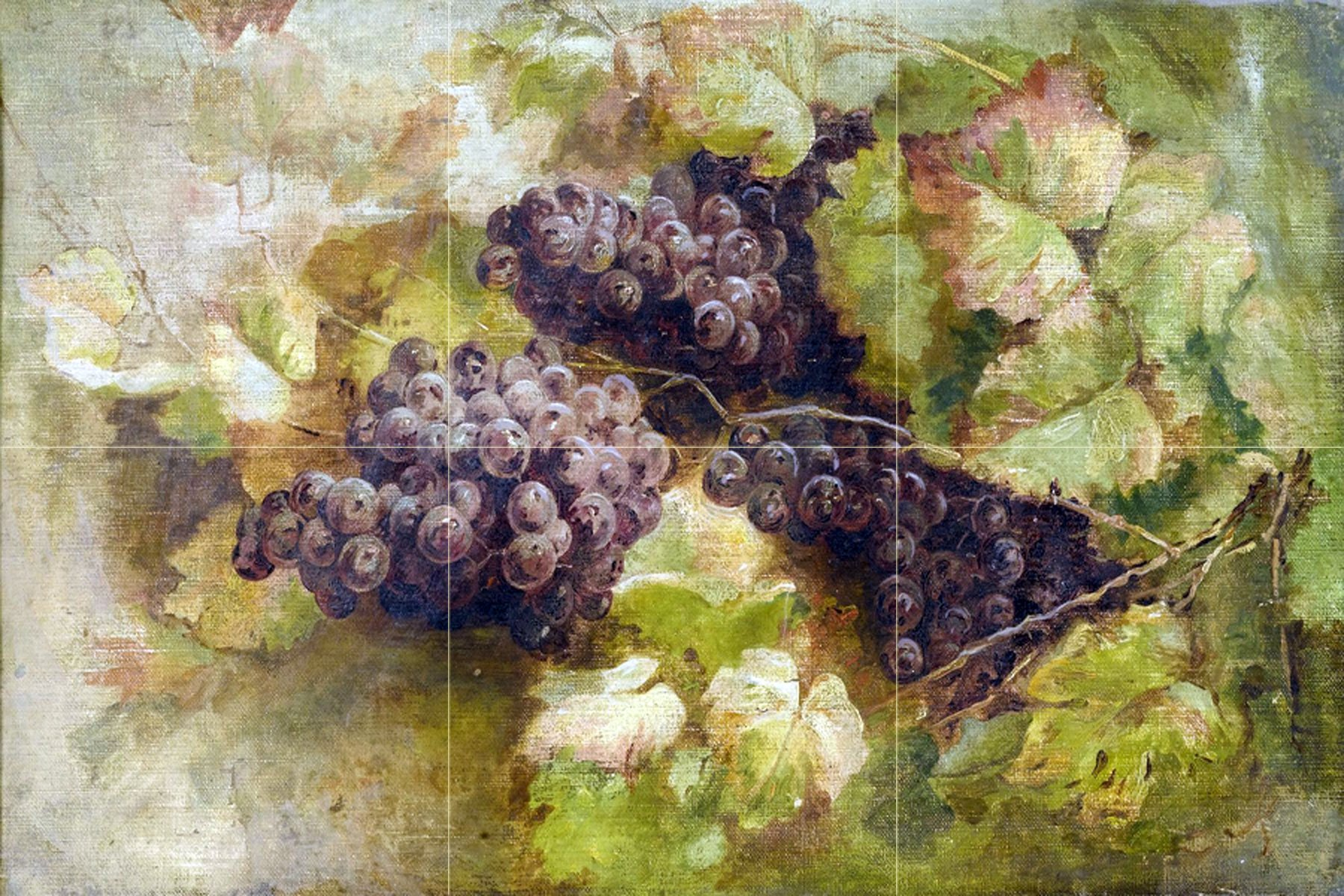 Vine fruits pattern grapes by Giovanni Segantini Tile Mural Kitchen Bathroom Wall Backsplash Behind Stove Range Sink Splashback 3x2 8'' Ceramic, Matte by FlekmanArt
