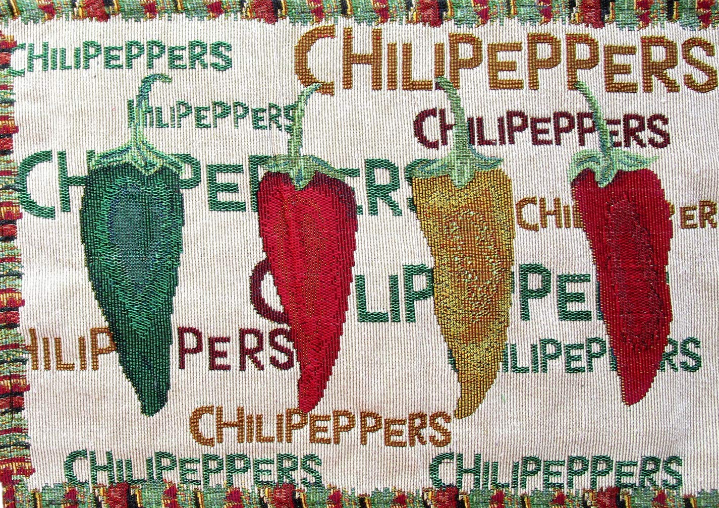 Everyday Woven Tapestry Place Mats - Set of 4 (Red, Green, and Yellow Chili Peppers with Border) by Everyday (Image #2)