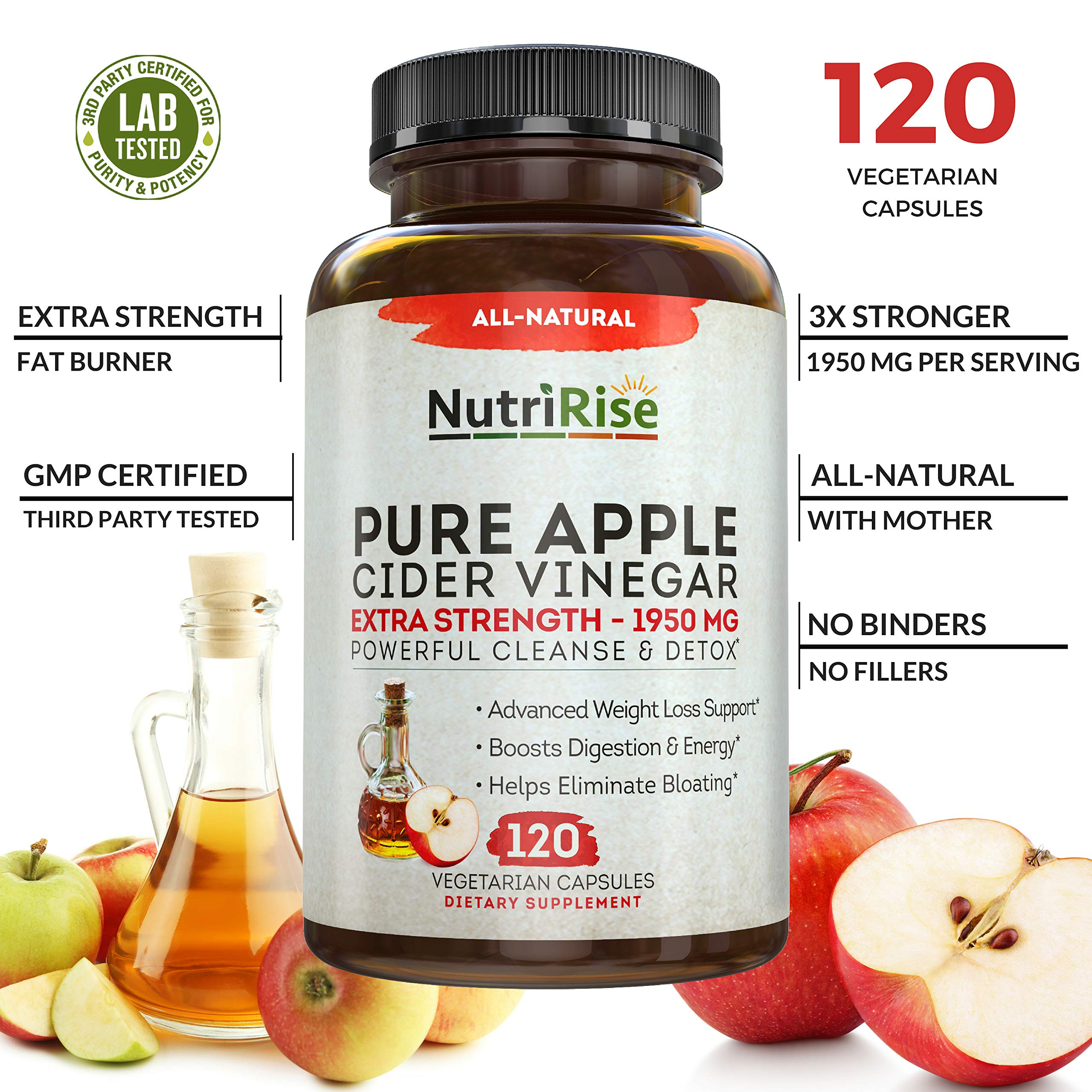 Apple Cider Vinegar Capsules for Weight Loss & Cleanse - 100% Pure Extra Strength 1950mg - 120 Natural Diet Pills for Women & Men for Bloating & Constipation Relief, Digestion & Energy Boost by NutriRise (Image #6)
