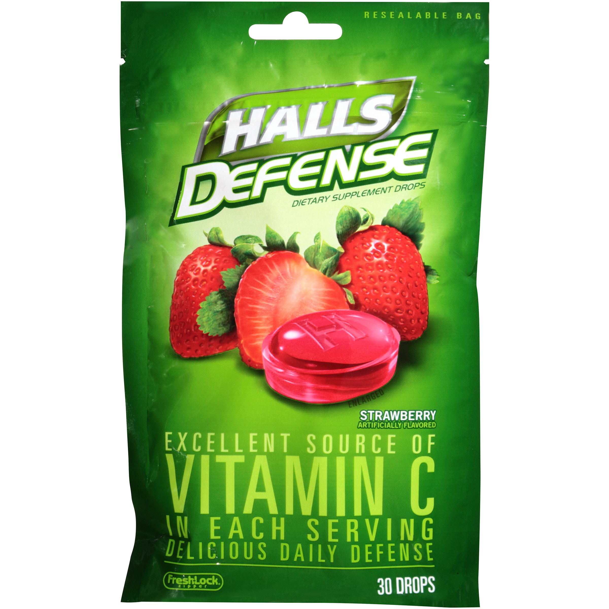 Halls Defense Cough Drops Strawberry 12 packs of 30 pieces (4 count)