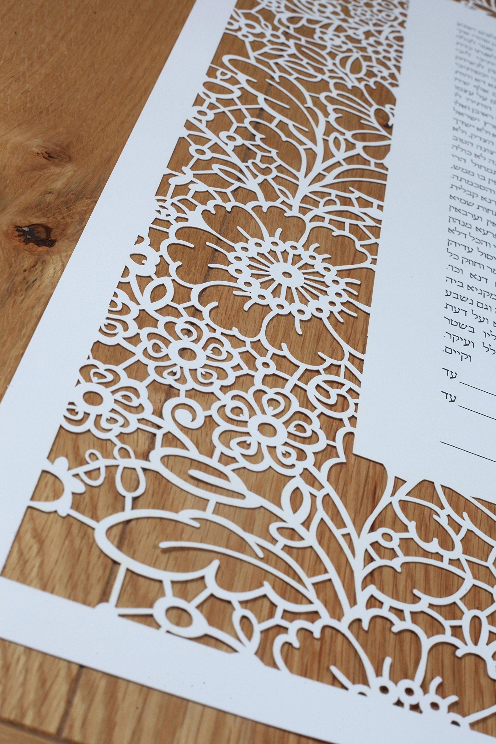 Laser Cut Ketubah - ''Lace in Bloom'' by Ketubata