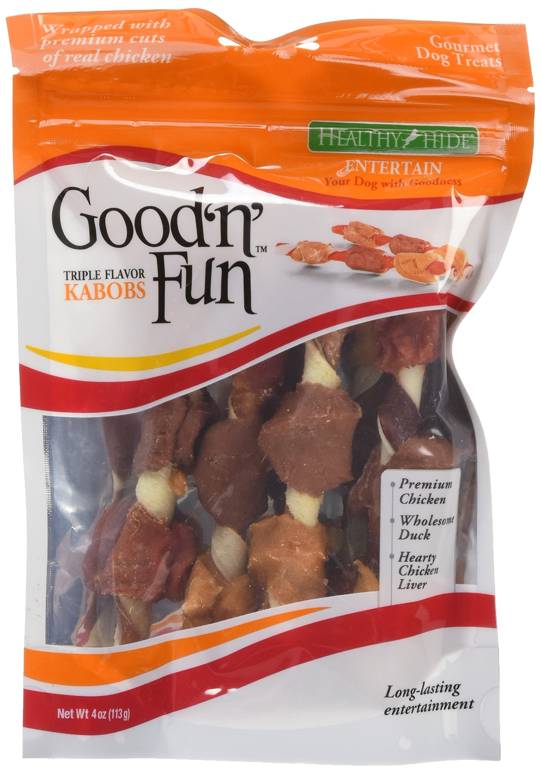 Healthy Hide Good n Fun Triple-Flavor Chews, Chicken, Duck and Liver Kabobs 4-Ounce (3 Pack)