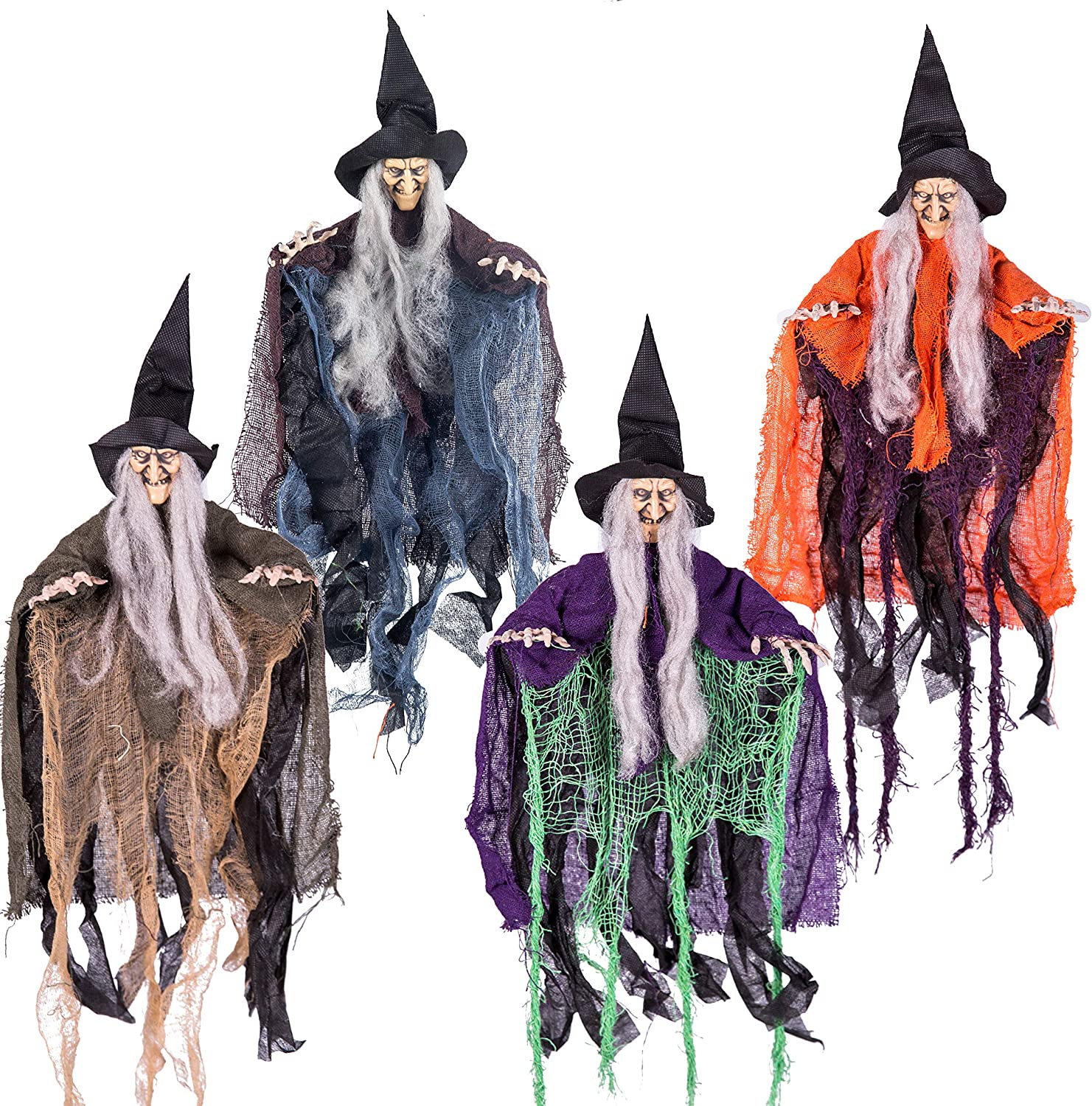 "19.6"" Halloween Hanging Wicked Witch in multi-color (4 Packs) Halloween Hanging Witch Prop Decor for Outdoor Hanging Decorations, Lawn Decor"