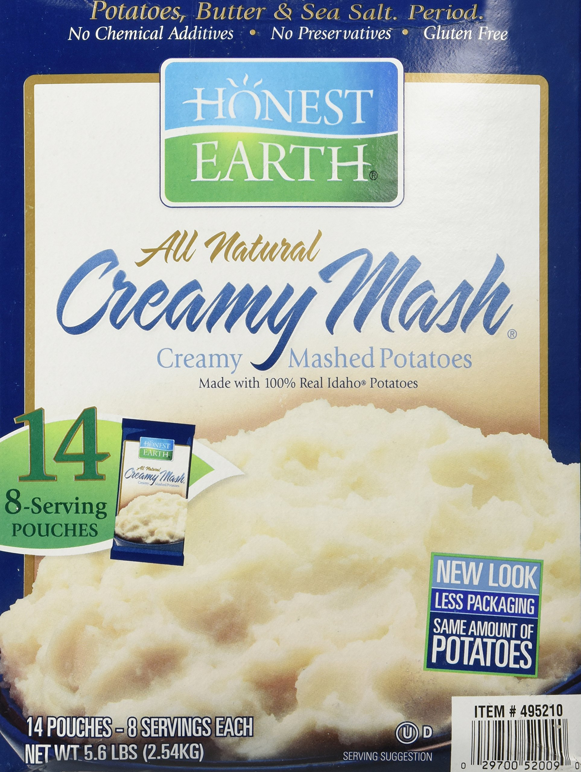 Honest Earth All-Natural Creamy Mash, Made with 100% Real Idaho Potatoes, 5.6lb Box includes 14 Pouches (8 Servings Each) by Idahoan