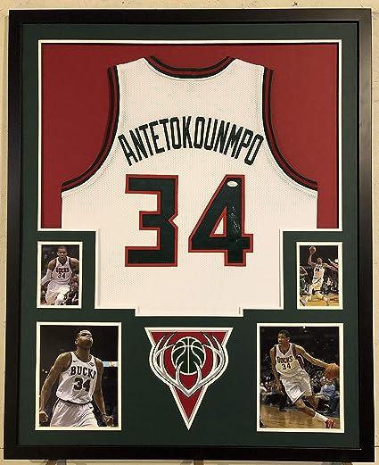 detailed look d6b50 765e1 Giannis Antetokounmpo Autographed Custom Framed Milwaukee ...