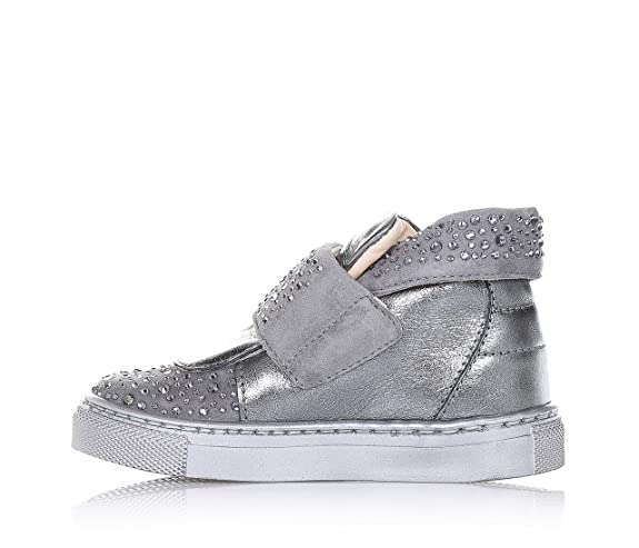 FLORENS - Silver shoe made of leather, Velcro closure, with inserts made of  suede and strass, visible stitching and rubber sole, Child, Girl, Girls: ...